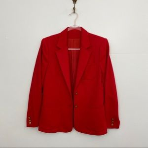 Vintage Relaxed Fit Gold Button Red Blazer
